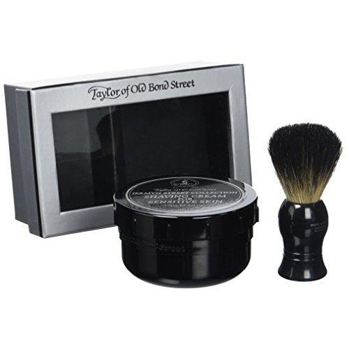 Taylor of Old Bond Street Black Pure Badger Shaving Brush and Jermyn St. Shaving Cream Bowl 150g Gift Set 2 pc shave set