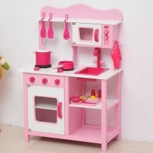 Homcom Wooden Kids' Kitchen | Pink Kitchen Playset