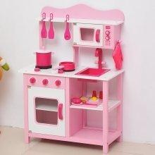 Homcom Wooden Kids Kitchen Children's Role Play Set Cooker Toys Girls Pink W/ Cooking Essentials