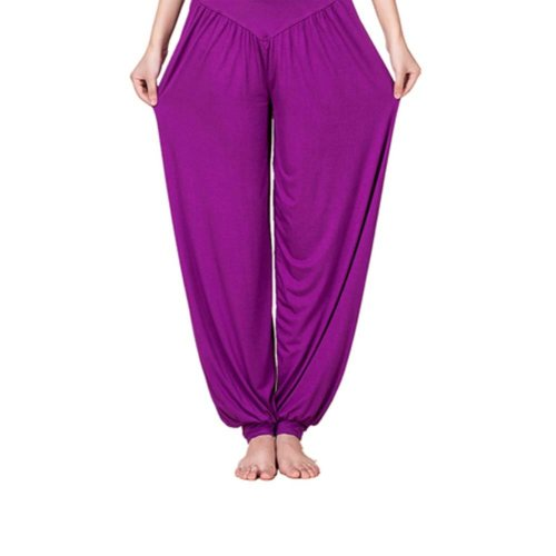 Solid Modal Cotton Soft Yoga Sports Dance Fitness Trousers Harem Pants, O