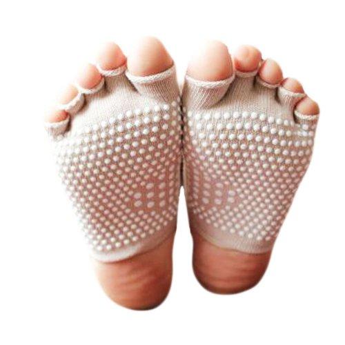 Fashion Cotton Semi palm Toe Yoga Socks Non Slip Absorbent Socks-White