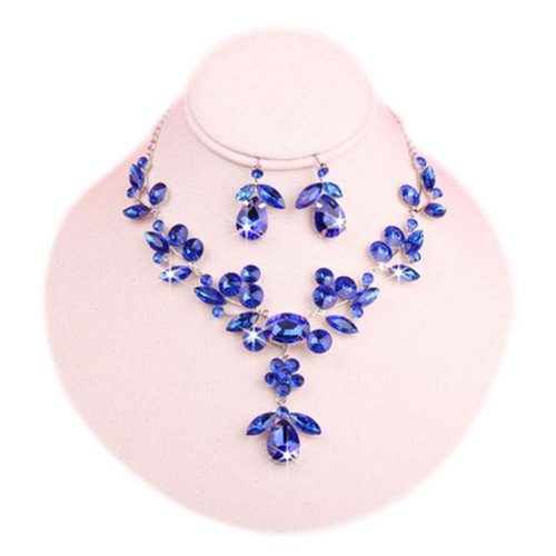 Wedding Jewelry Set Earrings & Beautiful Pendant Necklace Bridal Dowry Set BLUE