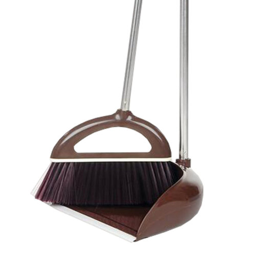Durable Removable Broom and Dustpan Standing Upright Grips Sweep Set with Long Handle, #A3