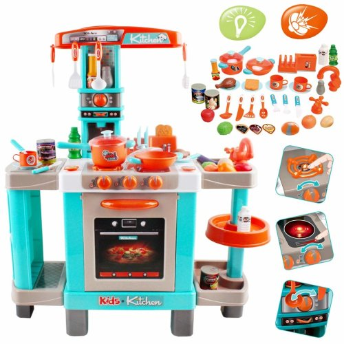 deAO My Little Chef Pretend Kitchen Play Set Role with Induction Hob, Water Features, Sounds Effect, Lights Effects and Accessories (Turquoise)