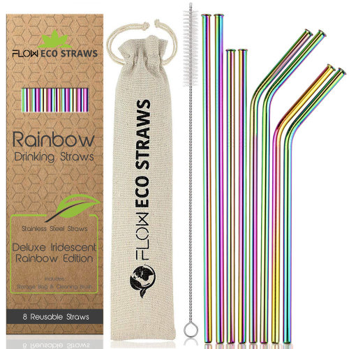 8pk FLOW Barware Reusable Rainbow Straws | Rainbow Stainless Steel Straws