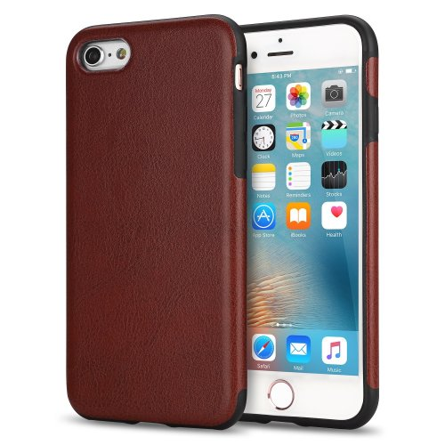 huge selection of faf69 4ec38 TENDLIN iPhone 6s Case Leather Back Flexible TPU Silicone Hybrid Slim Cover  for Apple iPhone 6 and iPhone 6s Brown
