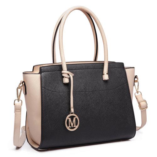 Miss Lulu Women Handbag Leather Shoulder Bag Tote Black Beige
