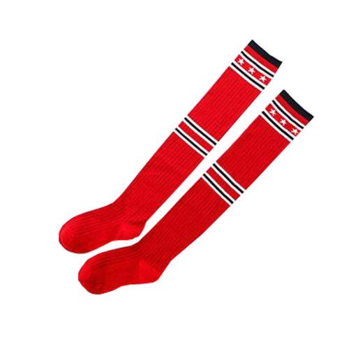 Women Girls Stripe Tube Dresses Over Knee High Socks - Red
