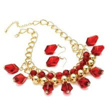 Chunky Glass Bead Red Necklace Set