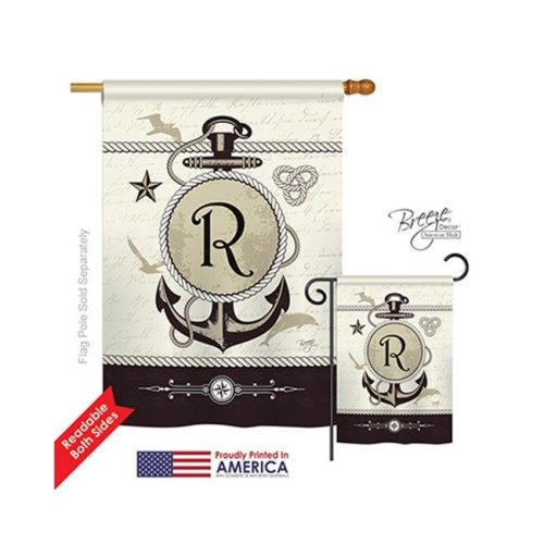 Breeze Decor 30200 Nautical R Monogram 2-Sided Vertical Impression House Flag - 28 x 40 in.