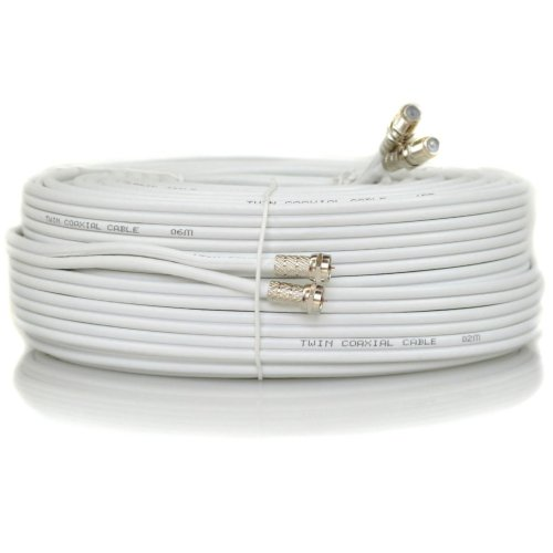 Sky Satellites 3 m Twin Satellite Shotgun Cable Extension Kit with Fitted F Connectors for Sky HD Q and Freesat - White (3 Meter, White)