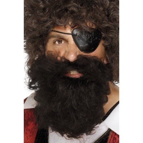 Smiffys Nylon Deluxe Pirate Beard - Brown -  brown pirate beard fancy dress deluxe smiffys costume nylon mens accessory