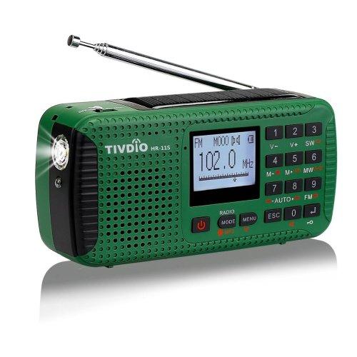 Tivdio HR11S Wind Up Radios Portable AM/FM/SW Radio Rechargeable Camping Radio Emergency Hand Crank Solar Radio with Alarm Clock Wireless MP3...