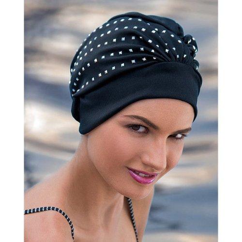 Fashy Ladies Black Swim Cap with Silver Stud Detail