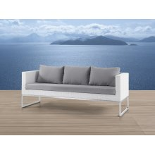 Outdoor Sofa 3 Seater - Stainless Steel and Wicker - CREMA