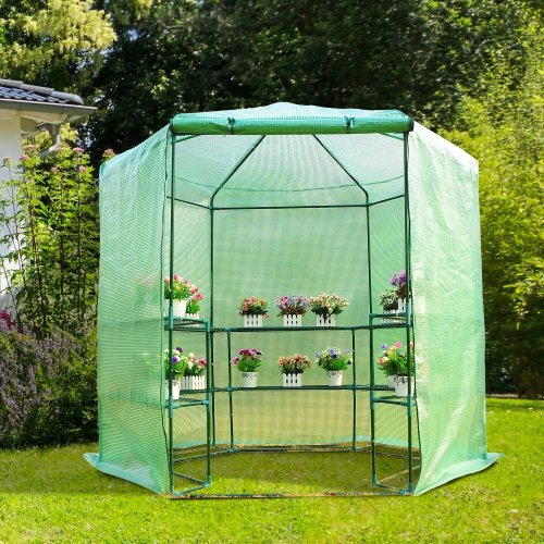 Outsunny 3-Tier Hexagonal Walk In Portable Greenhouse (194D x 225H cm)