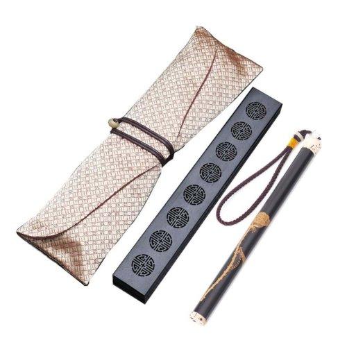 Wooden Incense Burner Box Ebony Wood Incense Stick Burner with Incense Tube, 13