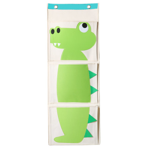 TRIXES Green Crocodile Canvas Kids and Baby Nursery Book Organiser