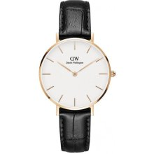 Daniel Wellington DW00100173 Black Leather Watch Steel Pink Gold Woman