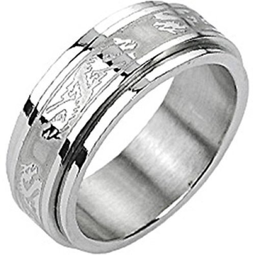 Double Dragon Spinner Surgical Steel Ring