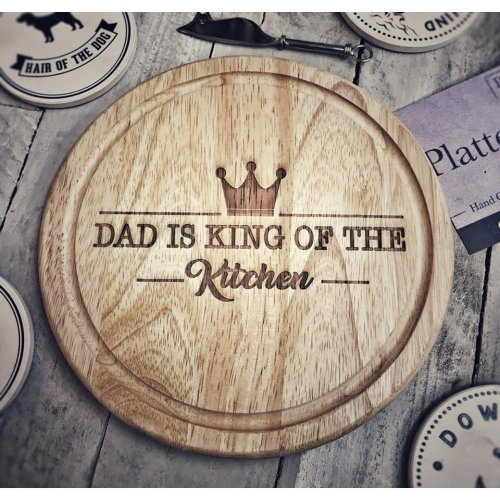 'King of the Kitchen' Wooden Platter | Father's Day Engraved Chopping Board