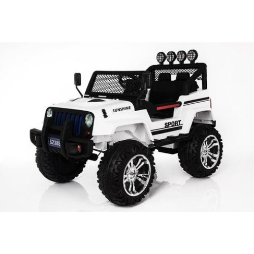 RideonToys4u 4x4 12V Electric Ride On Car With Parental Remote Control LED Headlights MP3 Input Sounds + Music Colour White Ages 2-4 Years
