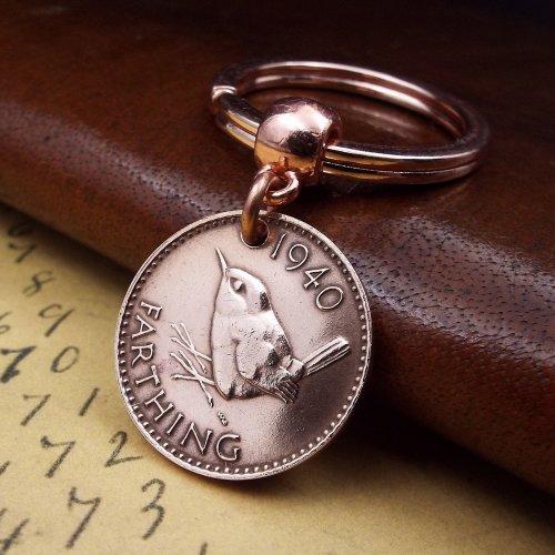 1940 British Farthing Coin Keychain Birthday Gift.