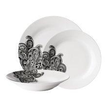 Avie 12Pc Prince Dinner Set, Black & White