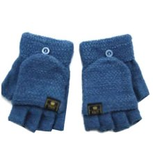Blue Beautiful Flip Wool Finger Gloves Keep Warm For Writing (10-15 Years)