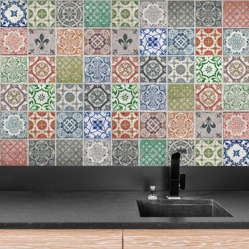 4 Kitchen Bathroom Vintage Porcelain Wall Tile Sticker - 10 cm x 10 cm - 24 pcs.