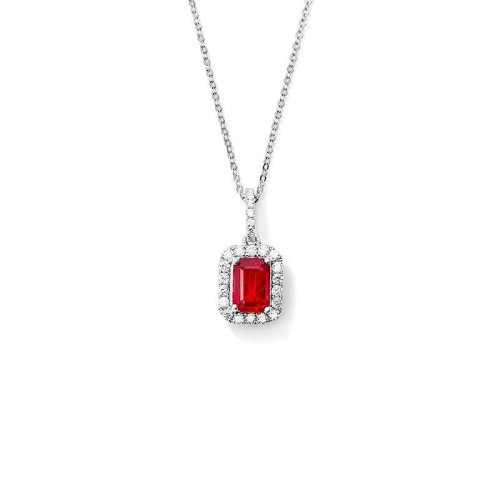 Red Ruby With Diamonds 4.00 Carats Pendant Necklace 14K Wg