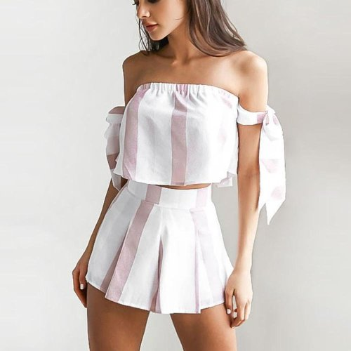 Sexy Bind Off Shoulder Rompers Shorts Casual Bodysuits Vertical Stripe Digital Printing Chest Wrapped Strapless Falbala Rompers