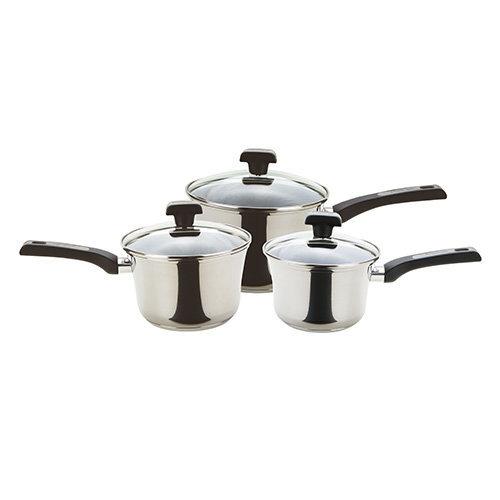 Prestige Durasteel Stainless Steel Saucepan, Silver, Set of 3