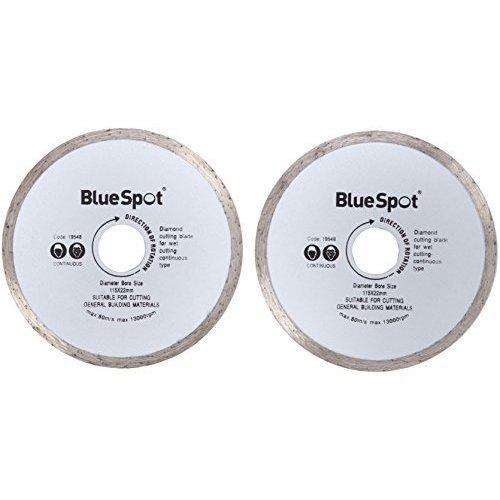 "Bluespot 2pce Continuous Rim 115mm (4.5"") Diamond Discs -  diamond cutting disc 115mm spot continuous 4 discs rim masonry blue angle grinder 19548"