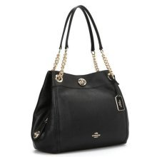 COACH Turnlock Edie Shoulder Bag in Polished Pebble Leather - Black - 36855-LIBLK