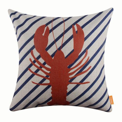"""18""""x18"""" Modern Blue Diagonal Lobster Burlap Pillow Cover Cushion Cover"""