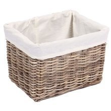 Medium Rectangular Wicker Storage Basket with Cotton Lining