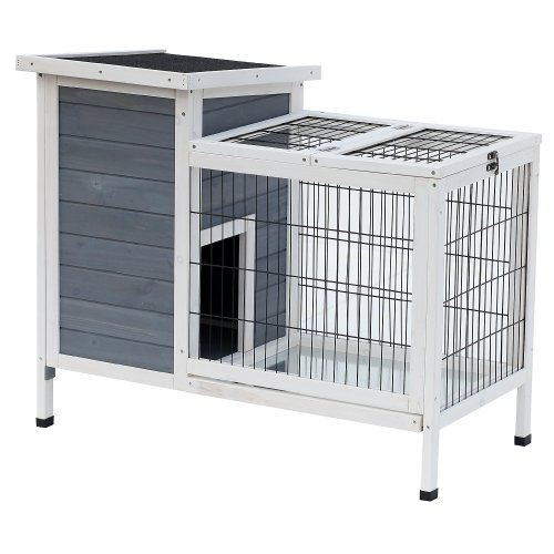 PawHut Wooden Rabbit Hutch Bunny Cage House Indoor Outdoor Area