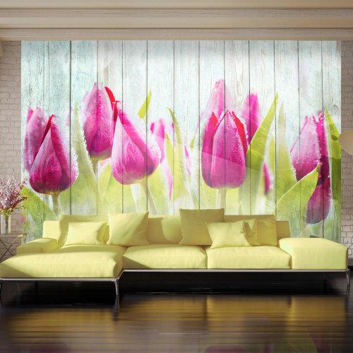 Wallpaper - Tulips on white wood