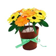 5 Sets Of Yellow Unfading Children DIY Potted Decorative EVA Chrysanthemum