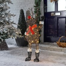 Winter Workshop - 100cm Battery or Mains Operated Outdoor Rattan Upright Rudolph Christmas Figure - 120 Multi-Functional Timed Warm White LED Lights