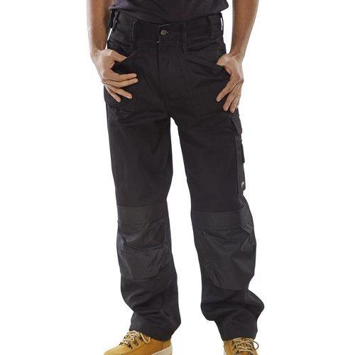 "Click CPMPTBL30 Premium Multi Purpose Rugged Heavy Duty Work Trousers Black 30"" Waist Standard Leg"