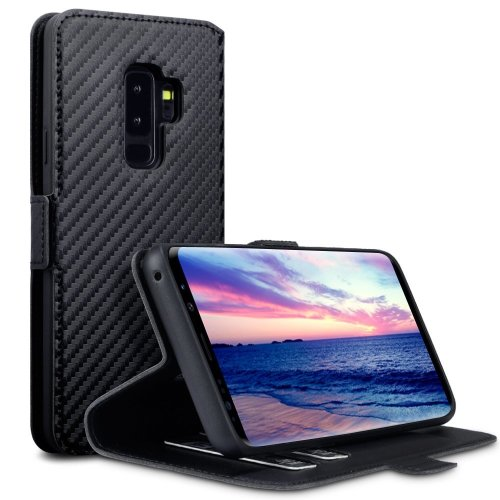 buy popular c53df bcd3d TERRAPIN Samsung S9 Plus Case Samsung Galaxy S9 Plus Leather Case Wallet  Flip Cover - Ultra Slim Fit - Viewing Stand - Card Slots - Black Carbon...