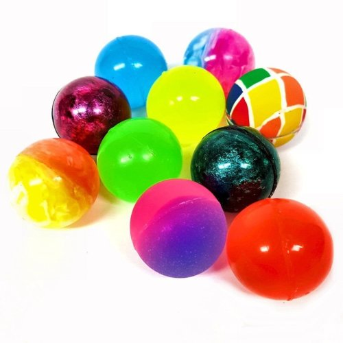 10 Assorted Colour Bouncy Jet Balls - Bright, Fun, Colourful Toys Fillers