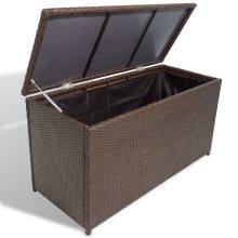 vidaXL Garden Storage Chest Poly Rattan Brown