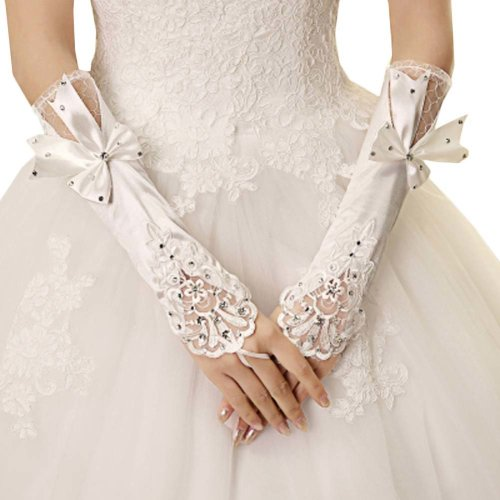 Bridal Wedding Gloves Party Dress Lace Long Gloves A12