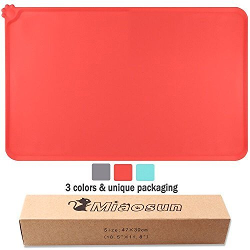 miaosun Pet Feeding Mat for Dogs and Cats-FDA Grade Silicone-Waterproof-Non Slip Pet Food Pad (red)