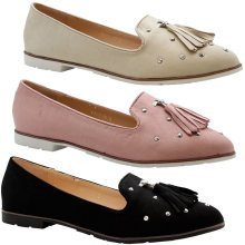 Women Flats Slip On Studded Loafers Pumps Shoe