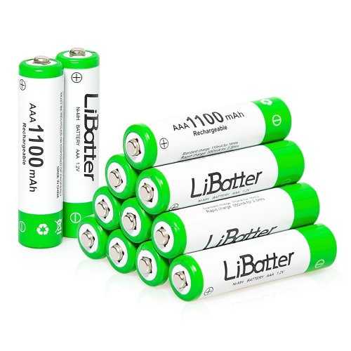 12 X AAA Rechargeable Batterys, LiBatter AAA 1100mAh Ni-MH AAA Rechargeable Batteries High Capacity AAA Batteries with Storage Cases