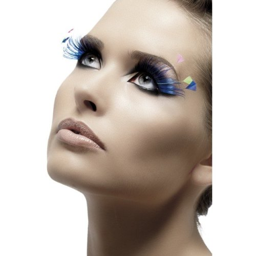 eda2c6e1913 Blue Neon Smiffy's Feather Plume Eyelashes - eyelashes feather fancy dress  blue false smiffys fake plumes on OnBuy